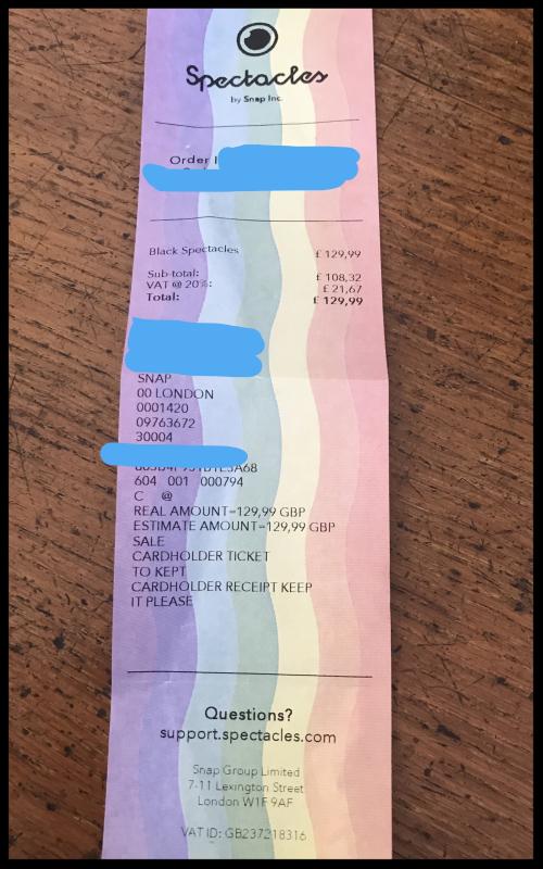 Snapchat receipt